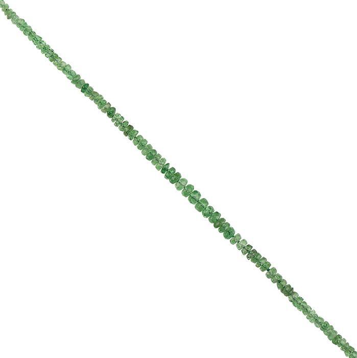 7cts Tsavorite Garnet Graduated Faceted Rondelles Approx 2x1 to 3x2mm, 10cm Strand.