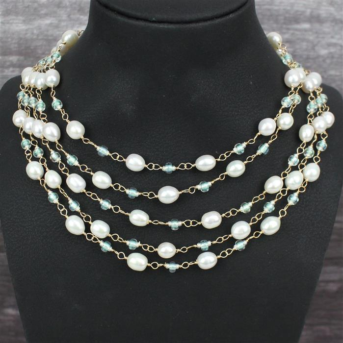 Ethereal: White Cultured Rice Pearls 6x8-7x9mm, 1m strand & Crystal 11/0, Mint 6/0 & clasp