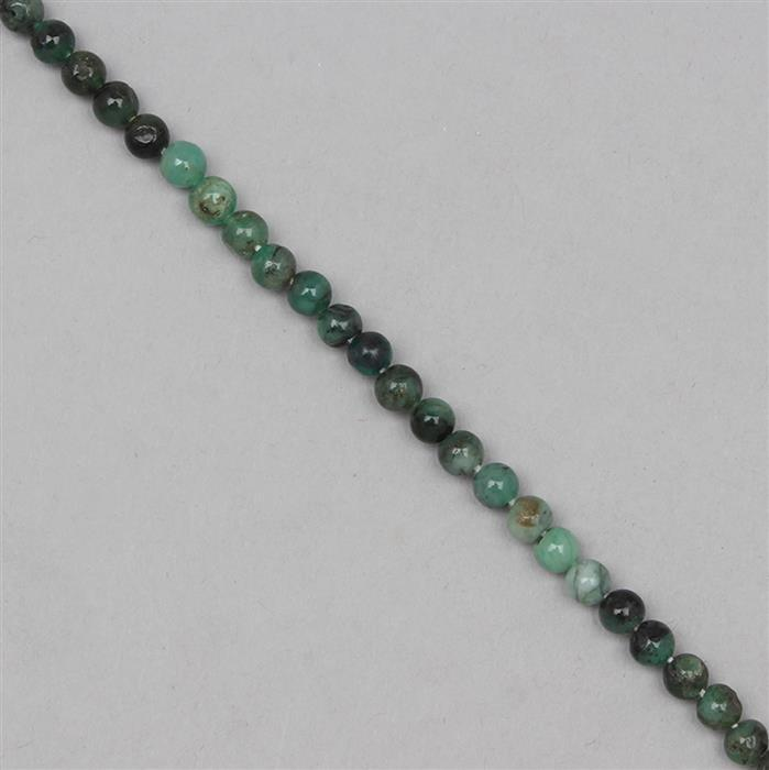 45cts Shaded Emerald Plain Rounds Approx 4mm, 31cm Strand.