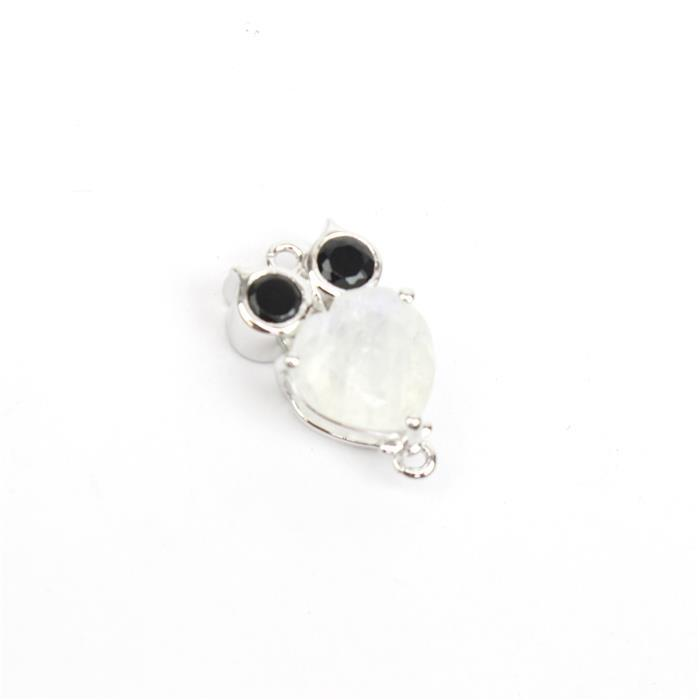 925 Sterling Silver Gemset Owl Connector Approx 19x11mm Inc. Rainbow Moonstone and Black Spinel.