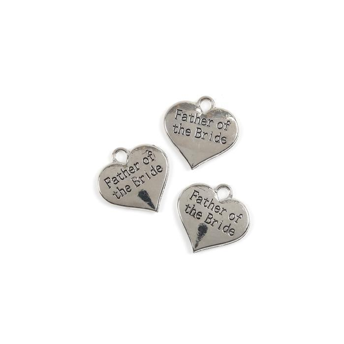 Silver Colour Heart Charms Engraved With Father of the Groom Approx 30mm 3pk