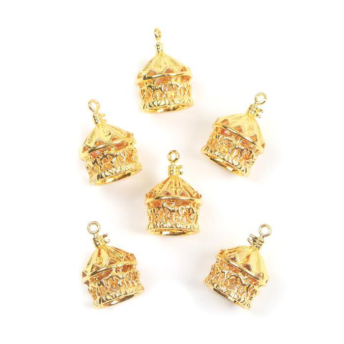 Gold Colour Base Metal Carousel Pendants Approx 23x15mm(6pcs)