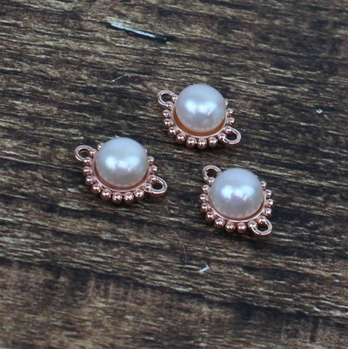 Rose Gold Plated 925 Sterling Silver Freshwater Cultured Pearl Connectors with Beading Detail Approx 10mm, 3pcs