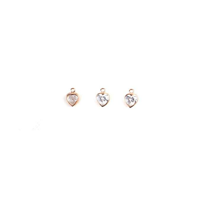 Rose Gold Plated 925 Sterling Silver Cubic Zirconia Heart Charms, Approx 9mm, 3pcs