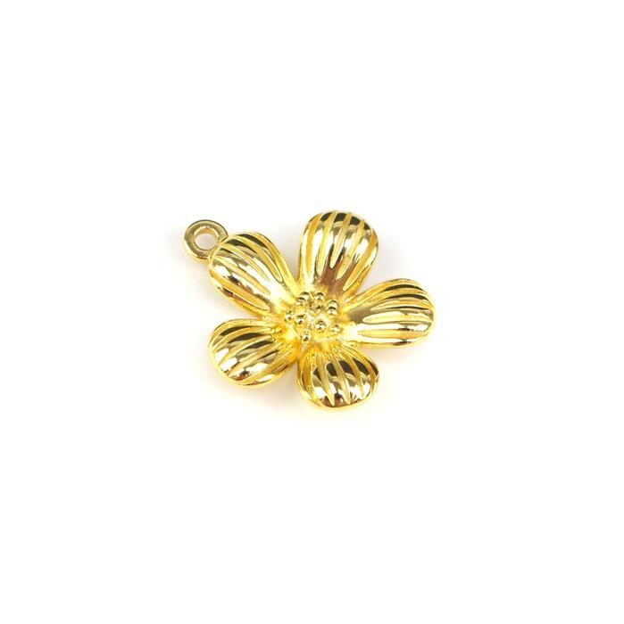 Gold Plated 925 Sterling Silver Spring Flower Pendant Approx 18x21mm
