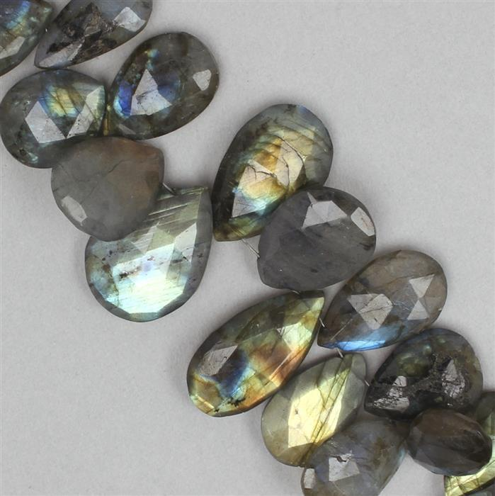 345cts Labradorite Graduated Elongated Faceted Pears Approx 11x8 to 24x12mm, 22cm Strand.