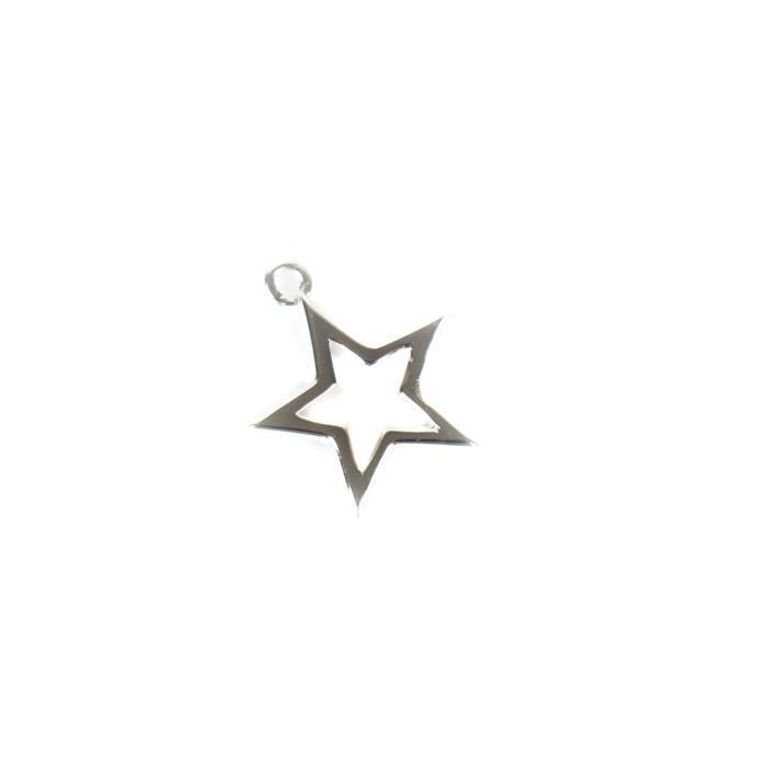 925 Sterling Silver Star Outline Pendant 15mm, 1pc