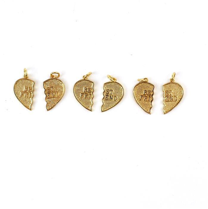 Gold Colour Plated Brass Best Friend Pendant Total Size Approx 20x20mm, Each Half Size Approx 20x10mm 2pc/pair, 3 Pairs