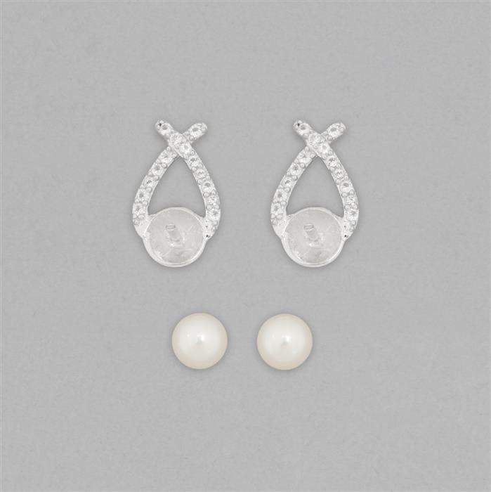 925 Sterling Silver Stud Earring Mount Fits 7mm Round Inc. Freshwater Cultured Pearl Round 7mm and 0.30cts White Topaz Brilliant Round 1.2mm