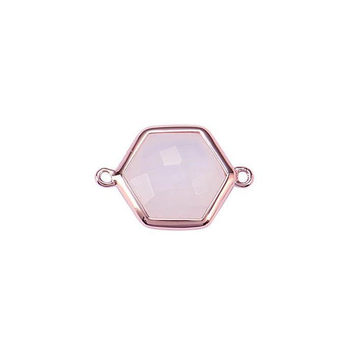 Rose Gold Plated 925 Sterling Silver Bezel Connector Approx 19x13mm Inc. 4.40cts Rainbow Moonstone Briolette Cut Hexagon Approx 11mm.