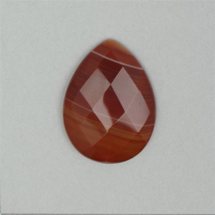 40cts Burnt Orange Stripe Agate Faceted Cabochon Drop Approx 40x30mm