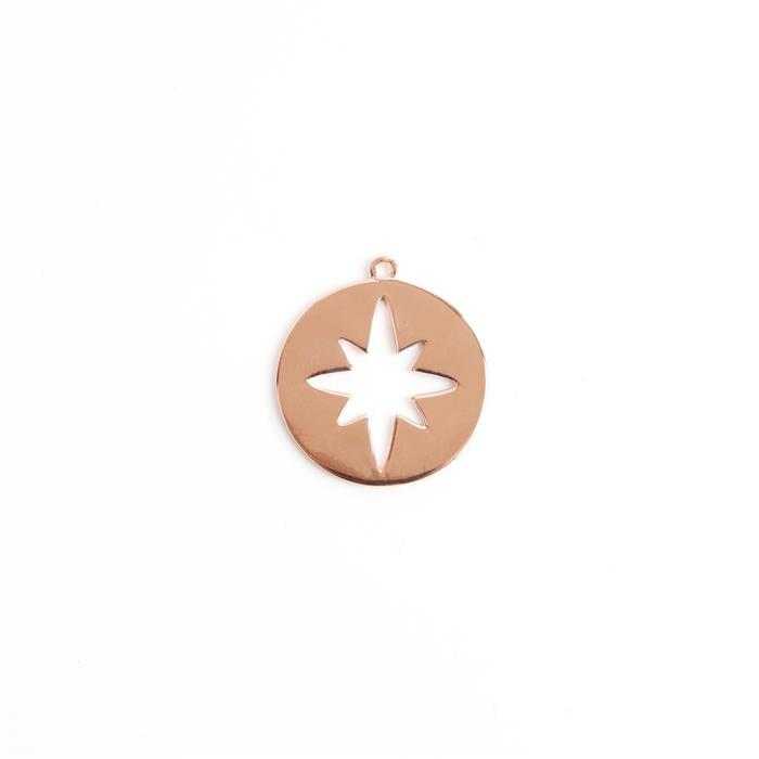Rose Gold Plated 925 Sterling Silver North Star Cut Out Pendant Approx 20x22mm