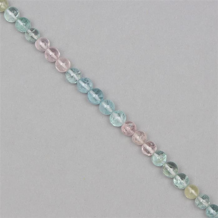50cts Multi-Colour Beryl Plain Rounds Approx 6mm, 19cm Strand.