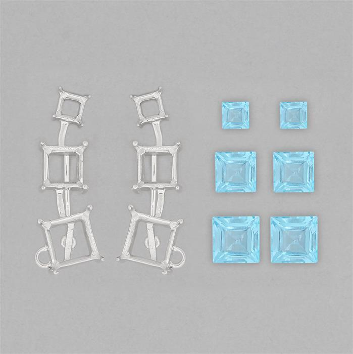 925 Sterling Silver Ear Climber Mount Fit Squares Inc. 7cts Swiss Blue Topaz Step Squares