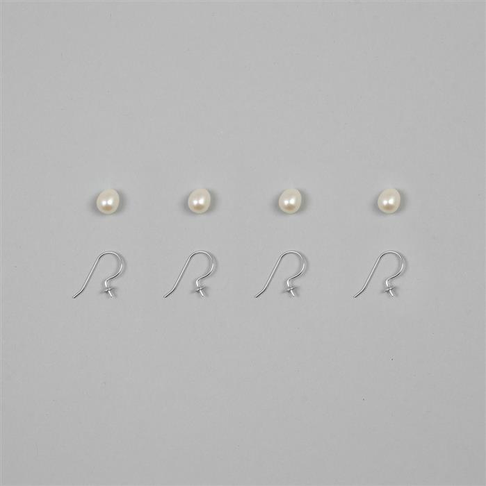 White Freshwater Cultured Half Drilled Pearl Ovals Approx 8x7mm with 925 Sterling Silver 4mm Earring Hook (2 Pairs)
