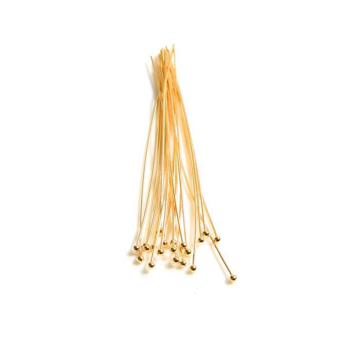 925 Gold Plated Sterling Silver Ball Head Pins - 75mm 22 Gauge/0.64mm - (20pcs)