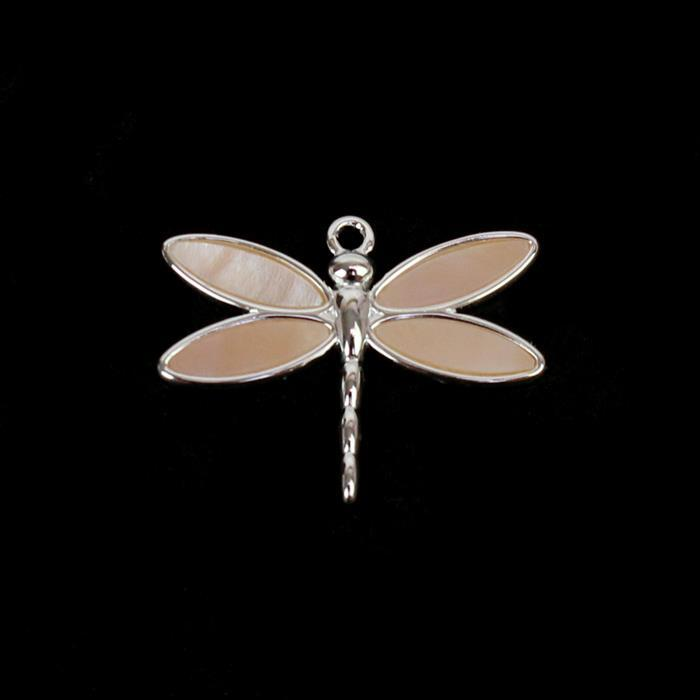 925 Sterling Silver Pink Shell Dragonfly Pendant Approx. 21 x 16mm