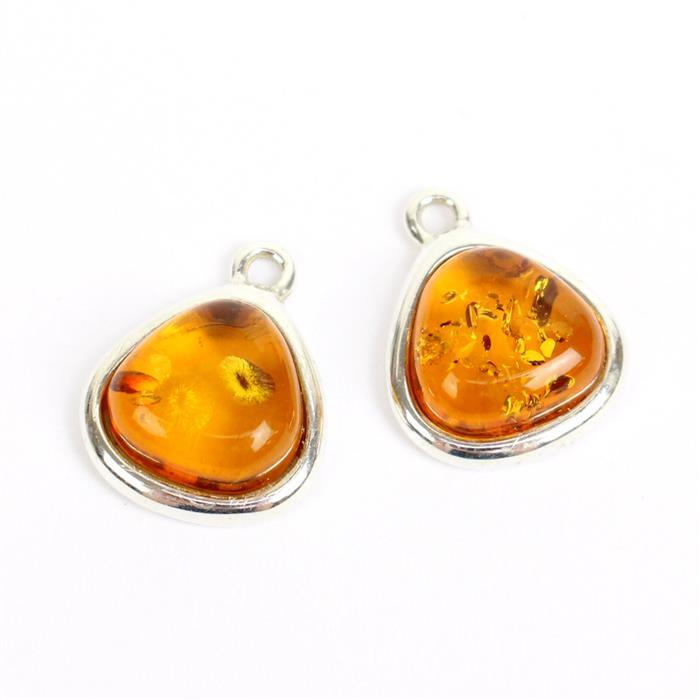 Amber Double Trouble! Inc; 2 x Baltic Cognac Amber Pebble Cabochon Sterling Silver Charm