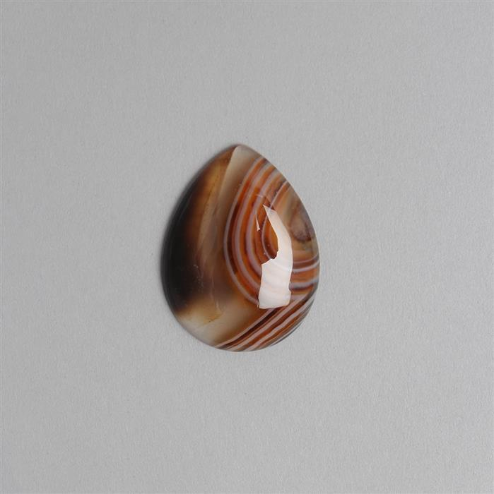 40cts Dyed Red & Black Stripe Agate Pear Cabochon Approx 40x30mm