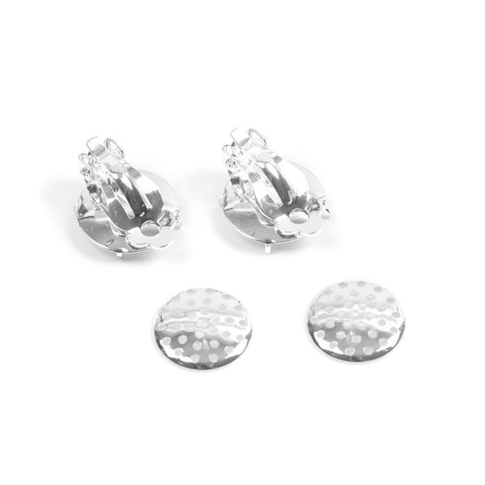 Silver Plated Base Metal Clip on Earrings Approx 17mm (1 pair)
