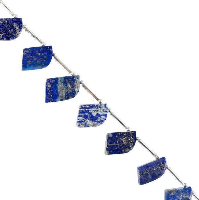 90cts Lapis Lazuli Graduated Plain Fancy Shapes Approx 18x10 to 21x12mm, 14cm Strand.