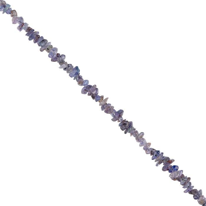 150cts Tanzanite Plain Small Nuggets Approx 2x1 to 7x2mm, 96cm Strand.