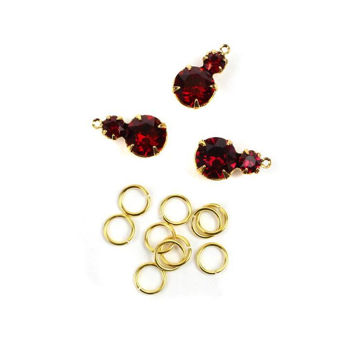 July Swarovski Pendant Kit: Ruby & Gold Multi Stone Pendants & Jump Rings