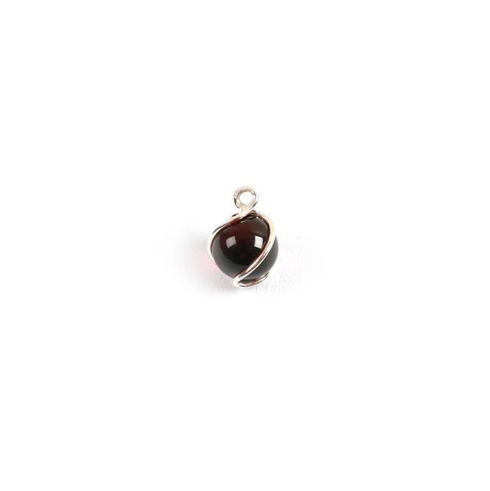 Baltic Cherry Amber Swirl Round Bead Charm Approx 9mm Sterling  Silver