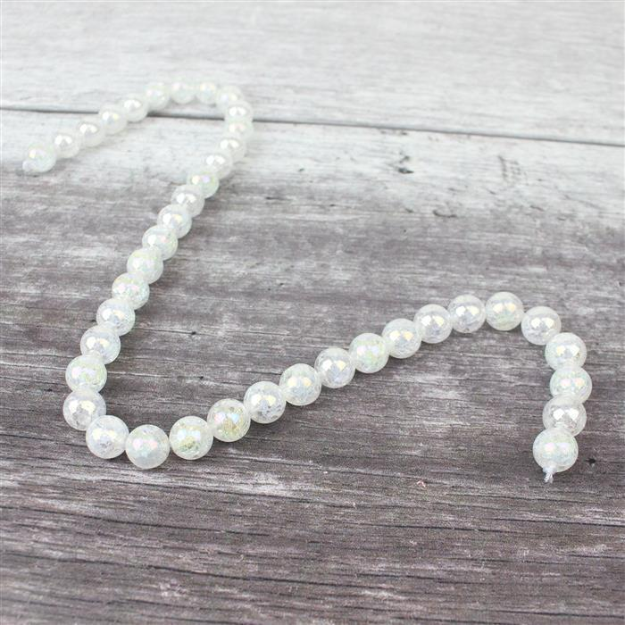 270cts Rainbow Coated Crackled White Quartz Plain Rounds Approx 10mm, Approx 38cm strand