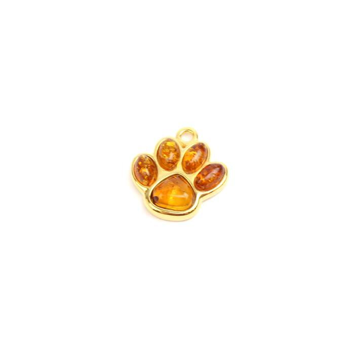 Baltic Cognac Amber Paw Print Charm Gold plated Sterling Silver Approx 14x15mm