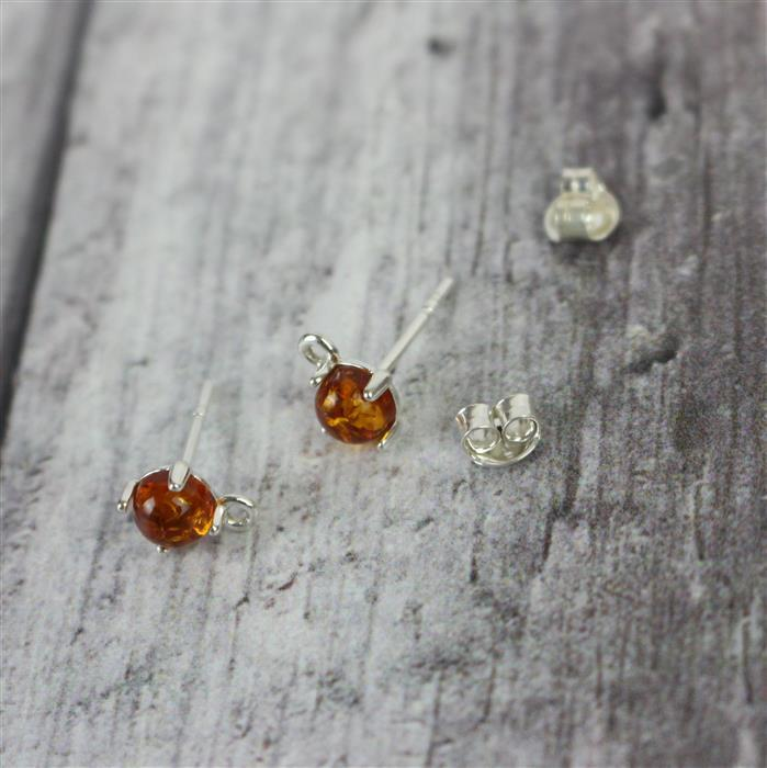 Baltic Cognac Amber round Sterling Silver Earrings with Loop Approx 5x5mm