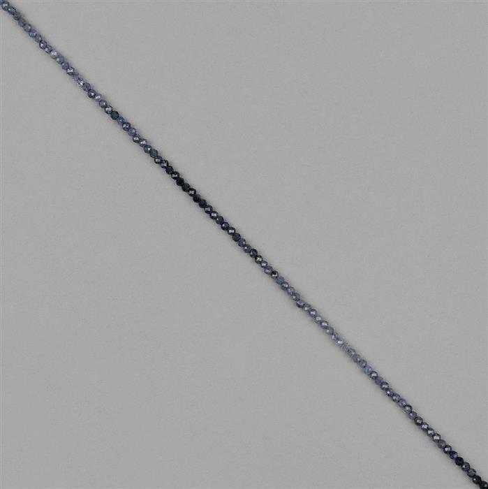 9cts Blue Sapphire Faceted Rondelles Approx 2x1mm, 30cm Strand.