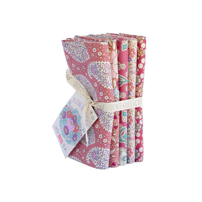 Tilda Plum Garden Peach Fat Quarter Bundle 5 Pieces
