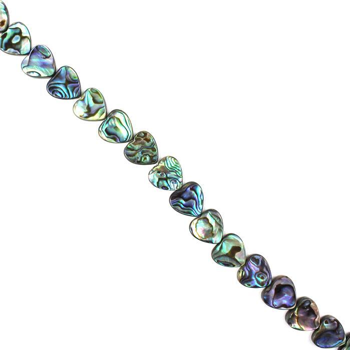 Abalone Flat Hearts Approx 14x14mm, Approx 38cm Strand