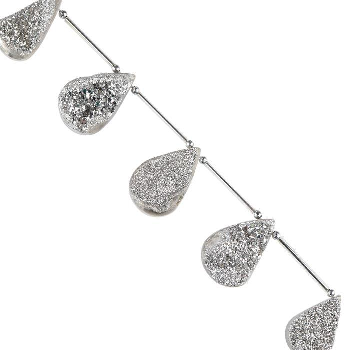 170cts Silver Color Coated Druzy Quartz Graduated Top Drilled Fancy Pears Approx 24x14 to 30x19mm, 14cm Strand.