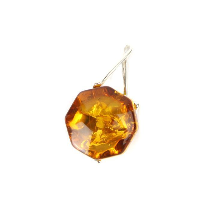 Baltic Cognac Amber Baroque Pendant with 925 Sterling Silver Element Approx 28x15mm