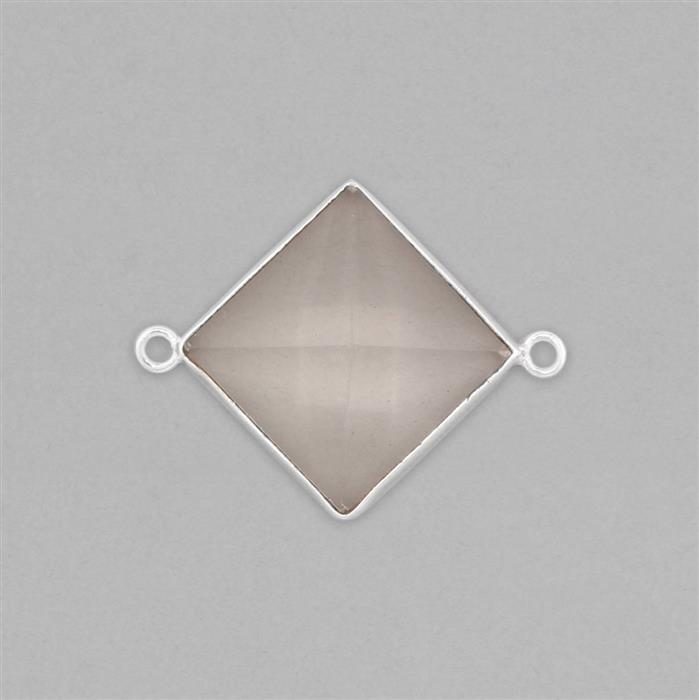 Silver Plated Copper 15cts Clear Quartz Pyramid Connector Approx 30x23mm