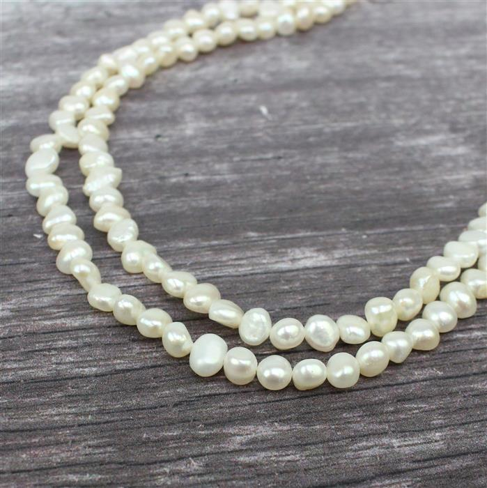 White Freshwater Cultured Pearl Nuggets Approx 6x7 to 6x8mm, 1m Strand