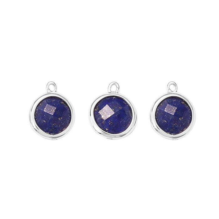 925 Sterling Silver Bezel Charms Approx 12x10mm Inc. 4.50cts Lapis Lazuli Briolette Cut Rounds Approx 8mm. (Pack of 3)