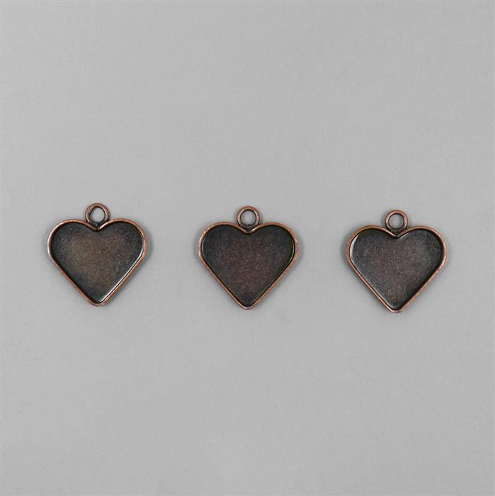 Antique Copper Plated Bezel Heart Pendants Approx 20mm 3pcs