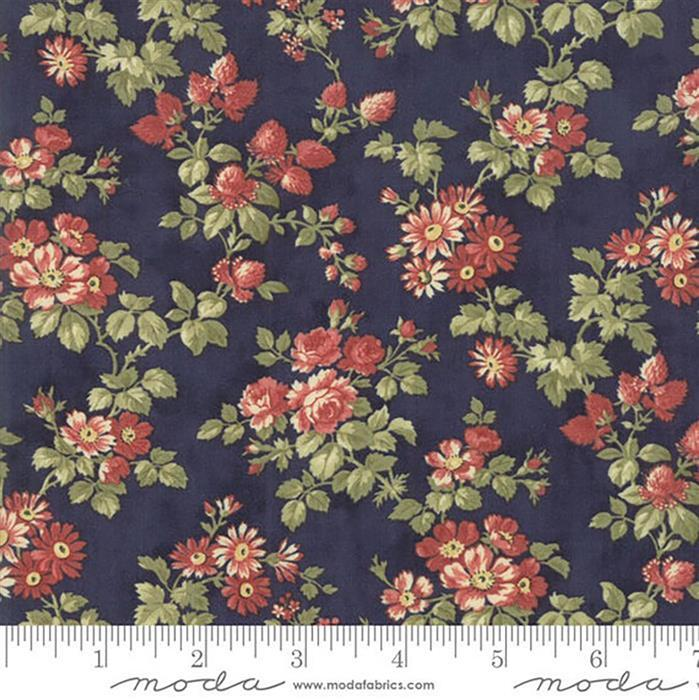 Moda 3 Sisters Memoirs Bouquets on Indigo Fabric 0.5m