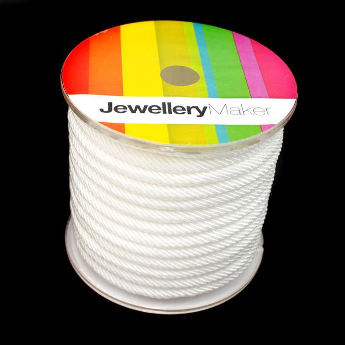 5mm White Milan Cord, Approx 4m
