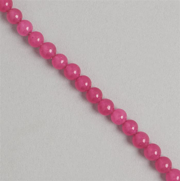 85cts Pink Colour Dyed Quartz Plain Rounds Approx 5mm, 35cm Strand.