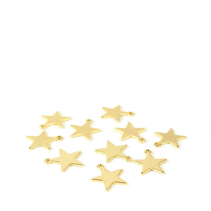 Gold Plated Base Metal Star Charms Approx 12mm(10pk)