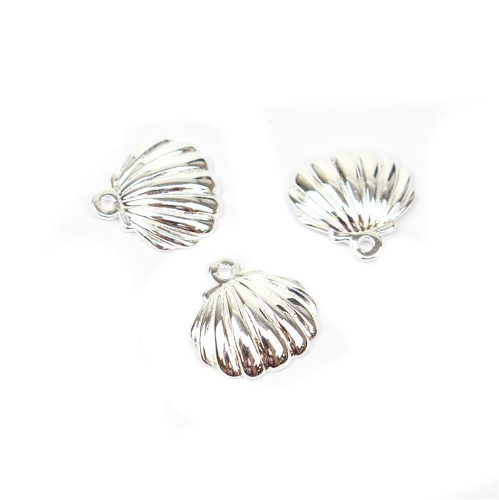 925 Sterling Silver Scalloped Shell Charms Approx 12x12mm 3pk