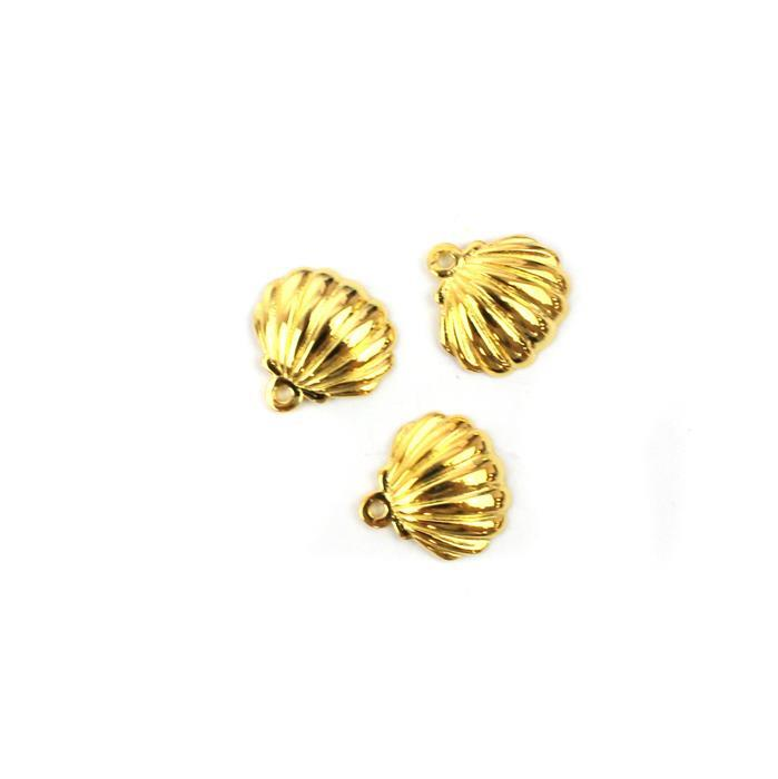 Gold Plated 925 Sterling Silver Scalloped Shell Charms Approx 12x12mm 3pk