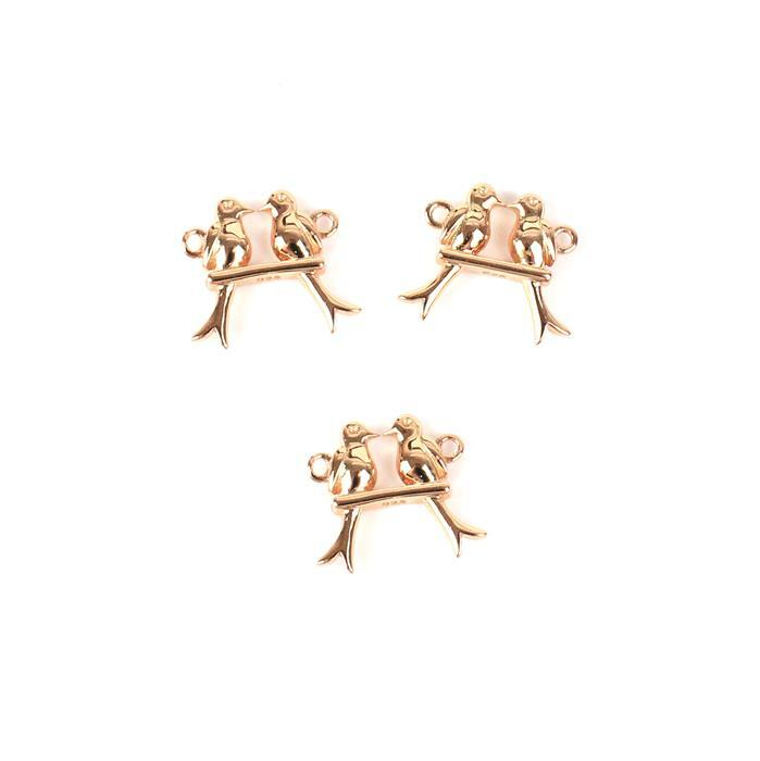 Rose Gold Plated 925 Sterling Silver Love Birds on a Swing Connectors Approx 12x14mm 3pcs