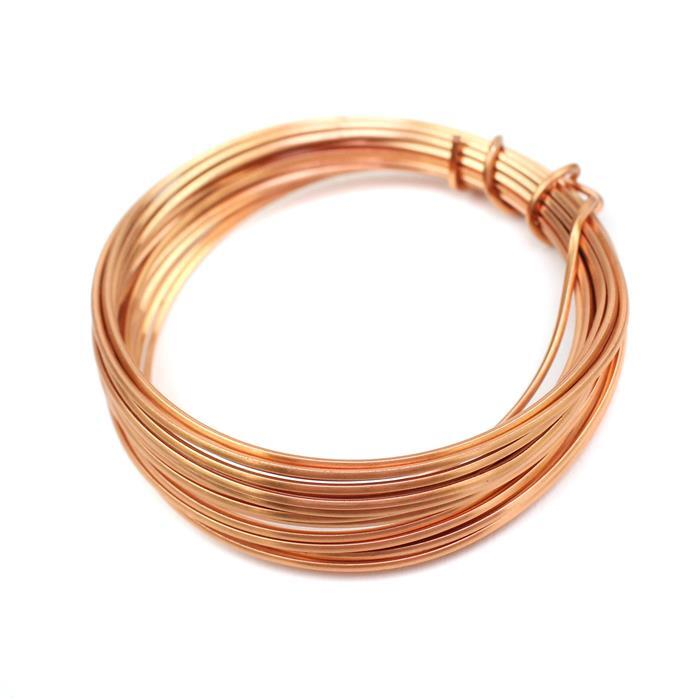 3m Rose Gold Coloured Copper Square Wire Approx 1.00mm