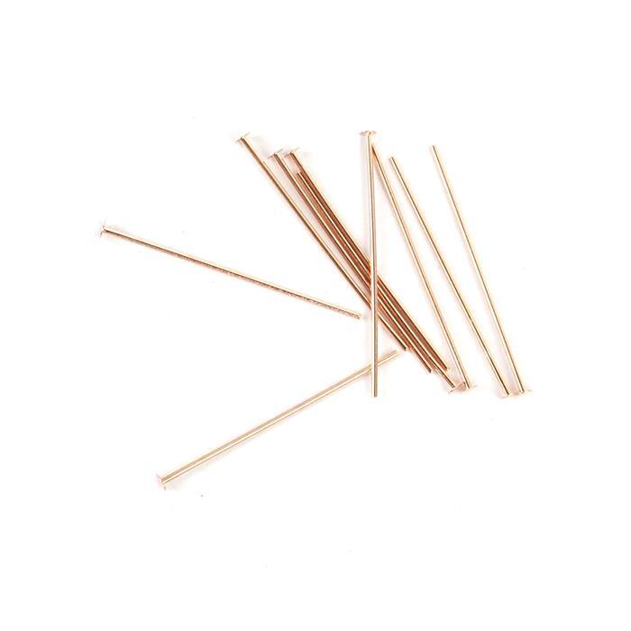 925 Rose Gold Plated Sterling Silver Headpins - 25mm (0.6mm) - (10pcs/pk)