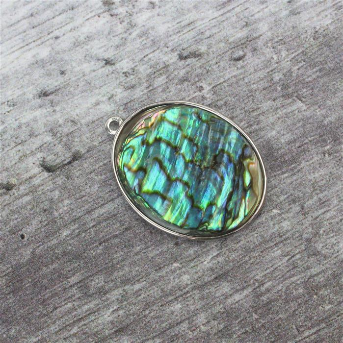 925 Sterling Silver Large Oval Abalone Pendant Approx 30x23mm, 1pc